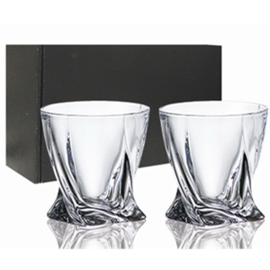 Set of 2 Wave Whiskey European Crystal 11.5 Oz. Glasses